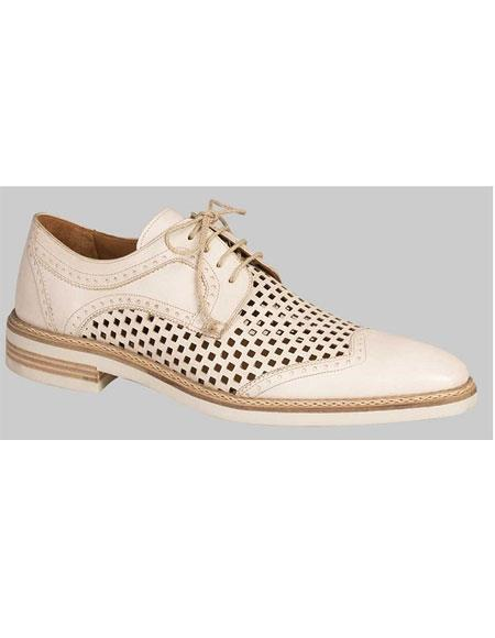 Men's Bone Honeycomb Summer Leisure Wing Cap Shoes Authentic Mezlan Brand
