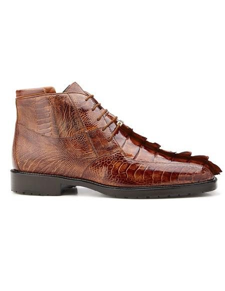 Mens Genuine Hornback And Genuine Ostrich Lace Up Style Belvedere Boot Brandy