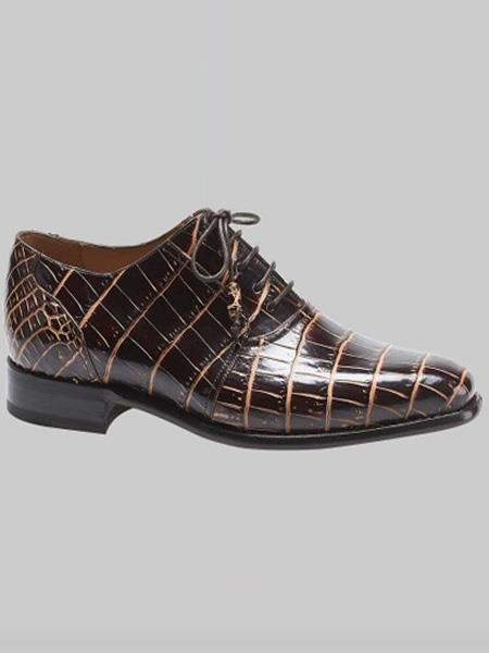 Mezlan Brand Fernan Style Brown / Beige Genuine World Best Alligator ~ Gator Skin Oxford Shoes