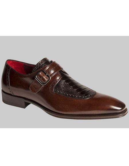 Mens Brown/Black Calfskin With Ostrich Leg Skin On Top Monk Strap Leather Shoes Authentic Mezlan Brand