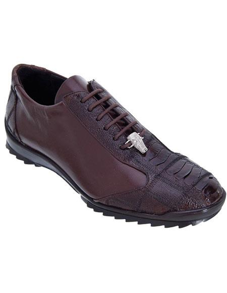 Men's Genuine Ostrich Leg Lace Up Los Altos Handmade Sneaker Shoes Brown