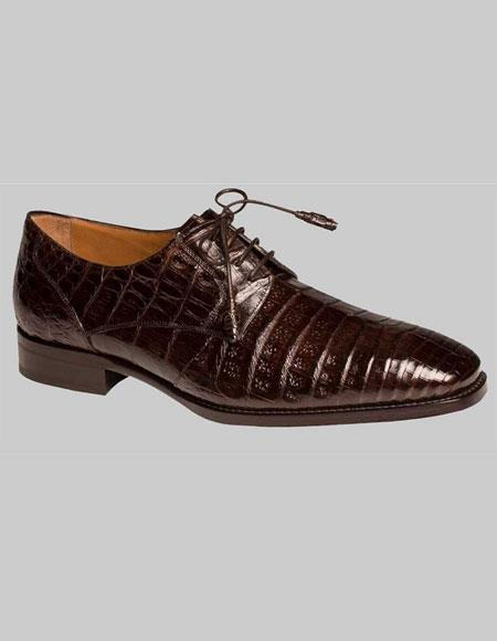 Men's Mezlan Brown Sleek Style Crocodile Leather Sole Lace Up Shoes Authentic Mezlan Brand