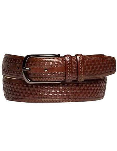Mezlan Belts Men's Brown Genuine Embossed Woven Calfskin Belt