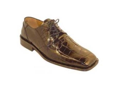 Mens Genuine World Best Alligator Gator Skin Shoes Chocolate