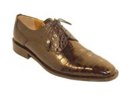 Mens Chocolate Genuine World Best Alligator Gator Skin Shoes