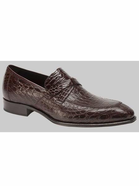 Mezlan Brand Sierpes Style Genuine Crocodile Brown Loafer Shoes