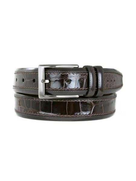 Men's Mezlan Belts Brand Genuine Crocodile Brown Cinturon De Cocodrilo