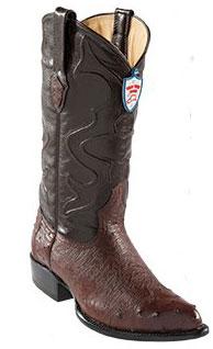 Wild West Brown J-Toe Smooth Ostrich Wing Tip Cowboy Dress Cowboy Boot Cheap Priced For Sale Online - Botas De Avestruz