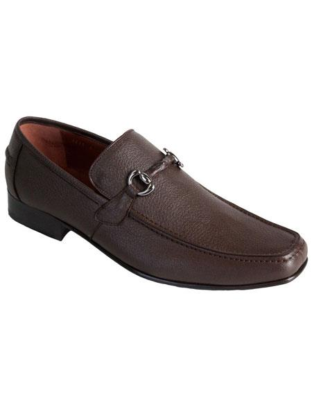 Men's Brown Genuine Full Deer Skin Los Altos Casual Slip On Loafer Style Dress Shoes