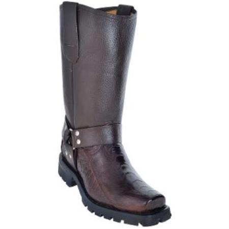 Men's Ostrich Leg Biker Boots With Industrial Sole Brown