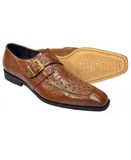 Men's Brown Genuine Ostrich Monk Strap Leather Shoes