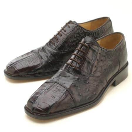 Oxfords Dark Brown Croc/Ostrich Lace-Up