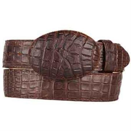Brown Caiman Belly (Imitation) Printed Pattern Western Style Belt