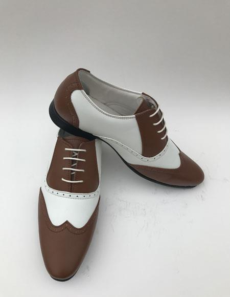 Men's Wingtip Lace Up Style Brown ~ White Two toned color Dress Oxford Shoes Perfect for Men