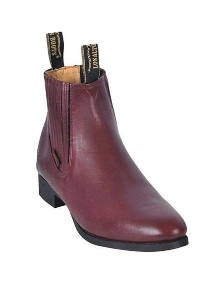 Los Altos Charro Botin Short Ankle Deer Burgundy ~ Wine ~ Maroon Color Leather Boot ~ Botines Para Hombre For Men