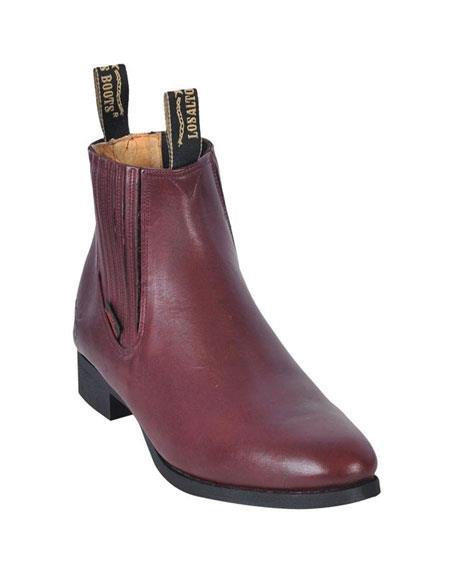 Los Altos Charro Botin Short Ankle Deer Burgundy ~ Wine ~ Maroon Color Leather Boot ~ Botines Para Hombre For Men