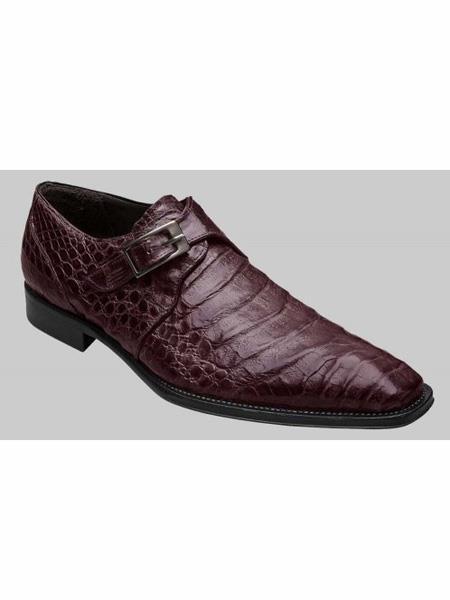 Mezlan Brand Brown Genuine Crocodile Monk Strap Shoes