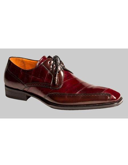 Mens Burgundy ~ Wine ~ Maroon Color Lace Up Style Eel Skin Exotic Leather Shoes Authentic Mezlan Brand