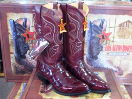 Los Altos Burgundy ~ Maroon ~ Wine Color Genuine Eel Western Cowboy Boot ~ botines para hombre(D)