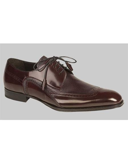 Men's Lace Up Burgundy ~ Wine ~ Maroon Color Italian Style Wingtip Leather Shoes Authentic Mezlan Brand