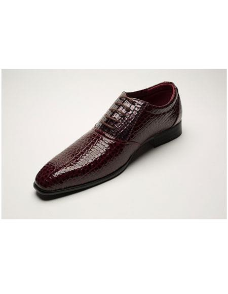 Men's Two Toned Lace Up Burgundy ~ Wine ~ Maroon Color Five Eyelet Lacing Dress Shoes