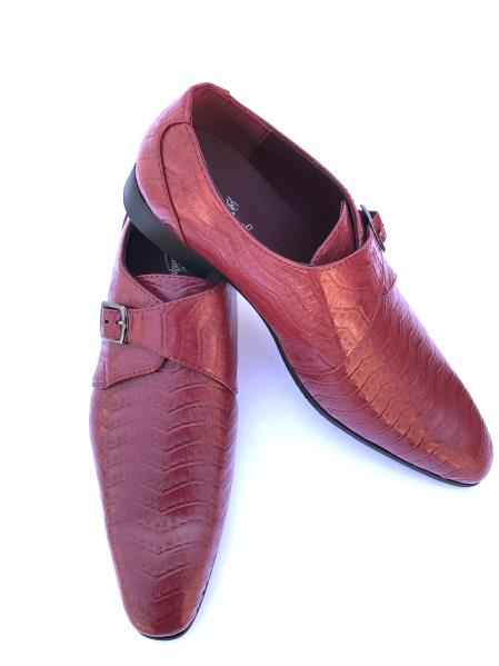 Men's Stylish Wave Designed Cap Toe Burgundy ~ Wine ~ Maroon Color ~ Wine Buckle Strap Dress Shoes