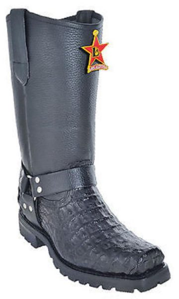 caiman ~ World Best Alligator ~ Gator Skin Tail Black Los Altos Men's Biker Boots Motorcycle Harness Riding Buckle