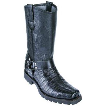 Men's Los Altos Caiman Tail Biker Boots Black