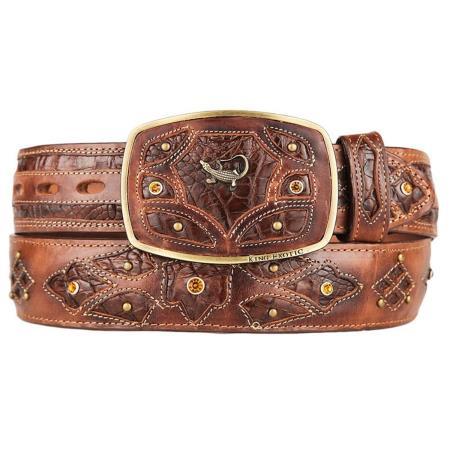 Men's Original Caiman Belly Skin Fashion Western Hand Crafted Belt Brown