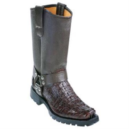 Caiman Tail Biker Boots With Industrial Sole Brown