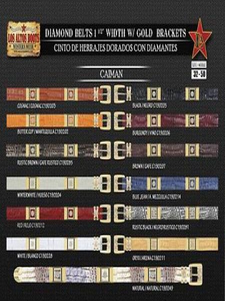 Diamond Genuine Caiman ~ World Best Alligator ~ Gator Skin 1.5 Wide Belt W/Gold Bracket