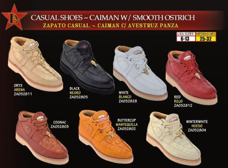 Oxfords High Top Exotic Skin Authentic Genuine Skin Italian Tennis Dress Sneaker Shoes For Men Los Altos Men's Genuine Caiman ~ World Best Alligator ~ Gator Skin W/ Smooth Ostrich Lace Up Casual Shoes