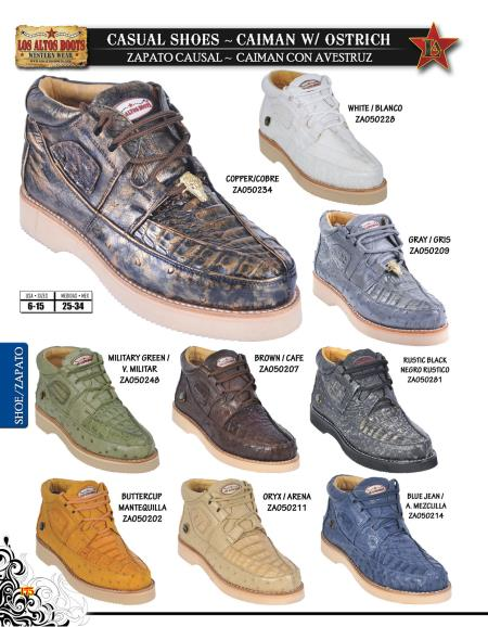 High Top Exotic Skin Sneakers for Men Los Altos Genuine caiman ~ World Best Alligator ~ Gator Skin w/ Ostrich Men's Casual Shoe Diff. Colors/Sizes