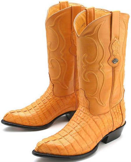 caiman ~ World Best Alligator ~ Gator Skin Tail Buttercup Yellow Los Altos Mens Western Boots Cowboy Classics Style