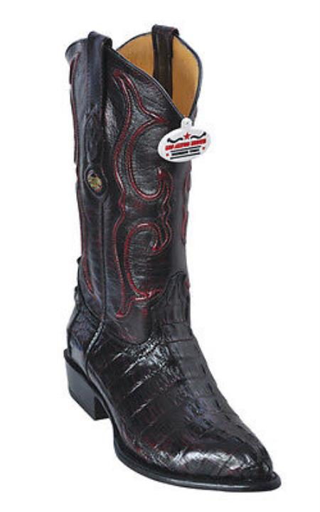 caiman ~ World Best Alligator ~ Gator Skin Tail Cherry Black Los Altos Men's Cowboy Boots Western Classics Riding