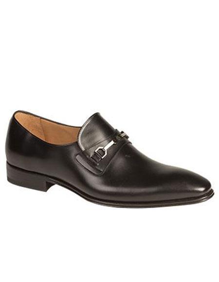 Mens Black Metal Bit Italian Calfskin Slip-On Loafers Shoes Authentic Mezlan Brand