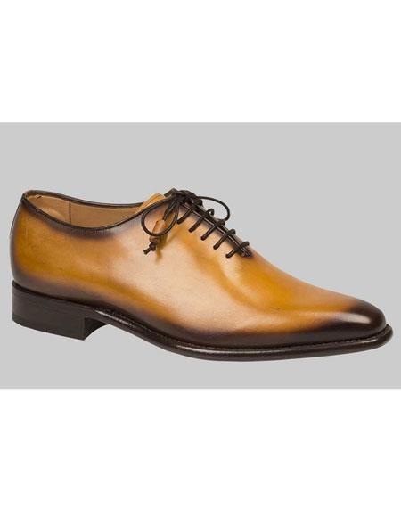 Mens Camel Calfskin Lace Up Burnish Leather Shoes Authentic Mezlan Brand