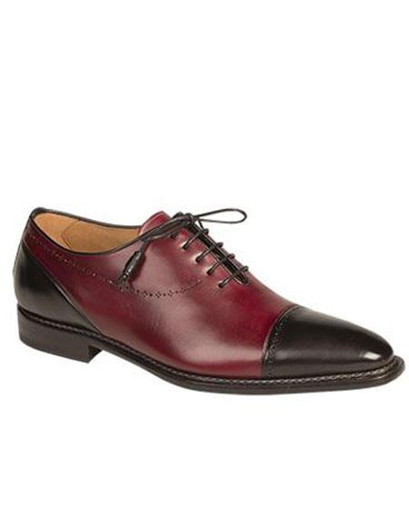 Mens Black/Burgundy ~ Wine ~ Maroon Color Cap Toe Italian Calfskin Lace Up Leather Shoes Authentic Mezlan Brand
