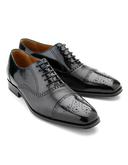Mens Black Cap Toe Calfskin With Contrast Deerskin Lace Up Leather Shoes Authentic Mezlan Brand