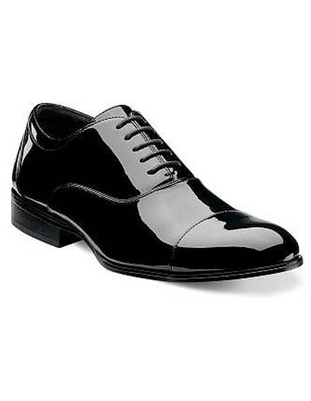 Mens Cap Toe Laceup Patent Uppers Black Formal Shiny Tuxedo Dress Shoes