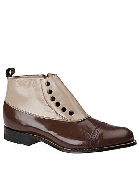 Stacy Adams Men's Madison Cap-Toe Side Zip Entry Brown Spat Boot ~ botines para hombre Dress Ankle Style