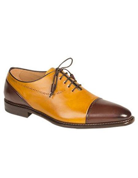 Mens Brown/Mustard Cap Toe Italian Calfskin Lace Up Leather Shoes Authentic Mezlan Brand