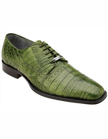 Belvedere Men's Leather Emerald Green Cap Toe Style Crocodile Shoes