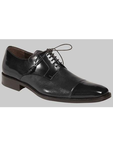 Mens Black Lace Up Deer Skin Polished Cap Toe Oxford Leather Shoes Authentic Mezlan Brand