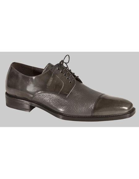 Mens 1920s Style Gray Lace Up Deer Skin Cap Toe Oxford Leather Shoes Authentic Mezlan Brand