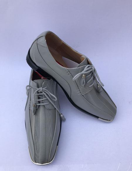 Men's Cap Toe Lace Up Style Gray ~ Grey Dress Shoes