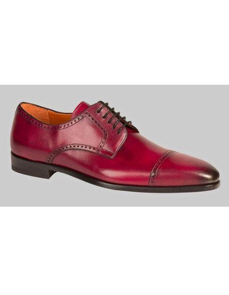 Men's Red Burnished Italian Calfskin Cap Toe Shoes Authentic Mezlan Brand