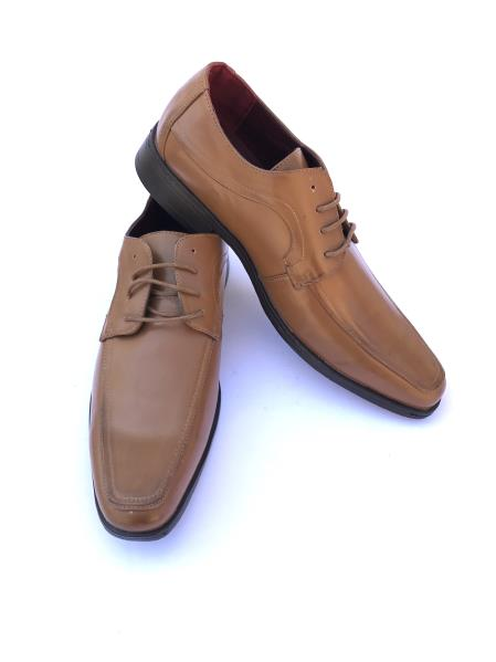 Men's Cap Toe Lace Up Style Solid Cognac ~ Camel ~ Tan~ Coffee Dress Shoes