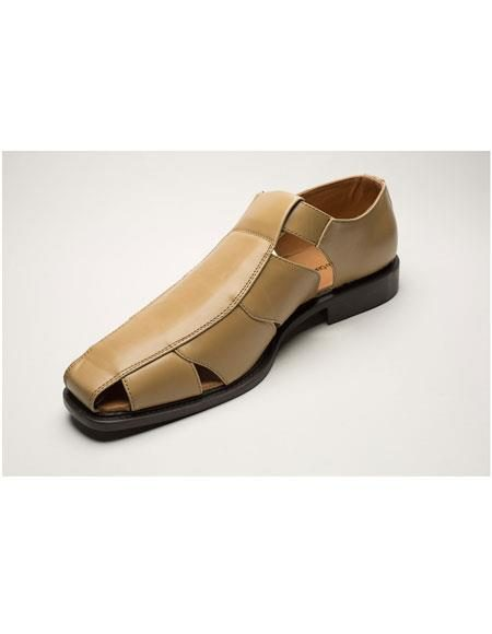 Men's Two Toned Casual Sandal tan Shoes