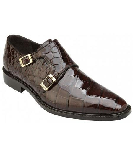 Men's Double MonkStrap Chocolate Genuine World Best Alligator ~ Gator Skin Plain Toe Loafer Shoes